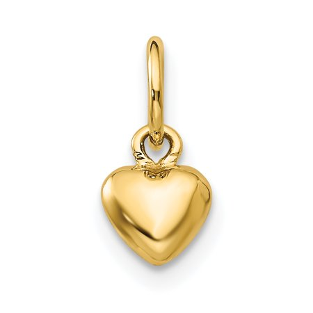 14k Yellow Gold 3 D Heart Pendant Charm Necklace Love Puffed Gifts For Women For - Gold Puffed Heart Charm