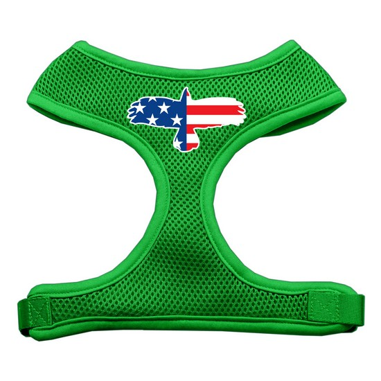 Mirage 70-44 MDEG Eagle Flag Screen Print Soft Mesh Dog Harness Emerald Green Md