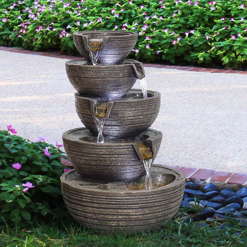 """23"""" H Outdoor Water Fountain with LED Light, Cascading 5 ..."""