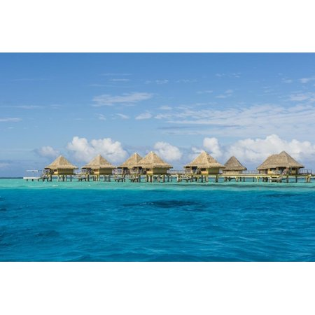 Overwater bungalows in luxury hotel in Bora Bora, Society Islands, French Polynesia, Pacific Print Wall Art By Michael