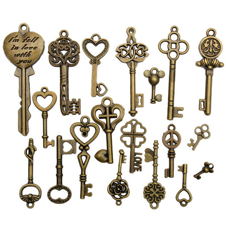 Antique Key Charm - 19Pcs Antique Vintage Old Look Skeleton Bronze Key Pendant Heart Bow Lock Steampunk GIFT