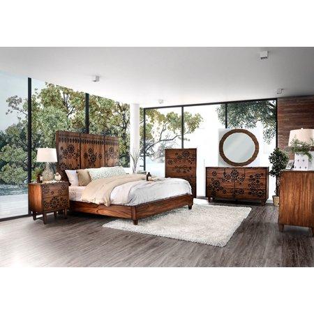 Contemporary dark oak bedroom furniture 4p eastern king - King size bedroom set with mirror headboard ...