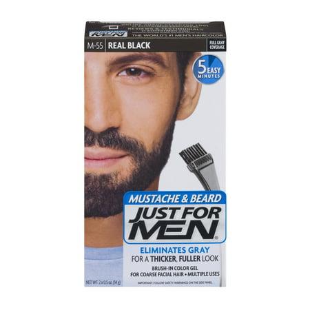 Just For Men Mustache & Beard Brush-In Color Gel M-55 Real Black ...
