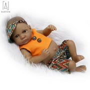 "GustaveDesign 11"" Mini Black Reborn Baby Doll Full Body Silicone Vinyl Newborn Doll Lifelike Black Boy Baby For 3+"