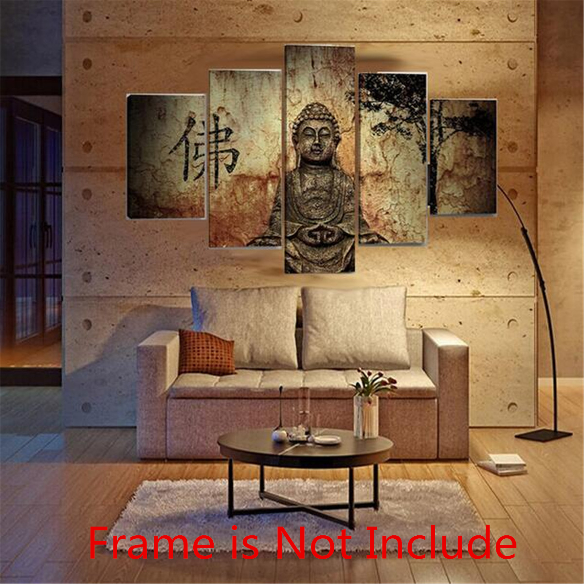 Huge Buddha Abstract Canvas Art Oil Painting Modern Home Wall Decor Set No Frame by