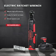 """XERATH Cordless Electric Wrench 3/8"""" Ratchet Wrench Set Angle Drill Screwdriver Wrench Tools with 2 x 2000mAh Battery Charger Kit"""