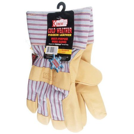 (Kinco International 1927L Work Gloves, Grain Pigskin Palm, Material Back And Cuff, Heatkeep Insulated Lining, Large)