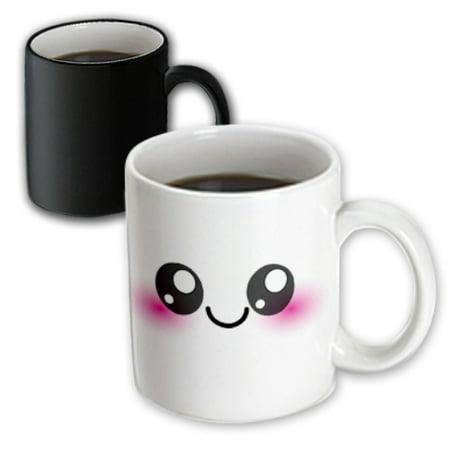 3dRose White Kawaii Smiley Square - Adorable and Cute Cartoon Smiling Face - Cartoony happy shy blushing, Magic Transforming Mug, 11oz