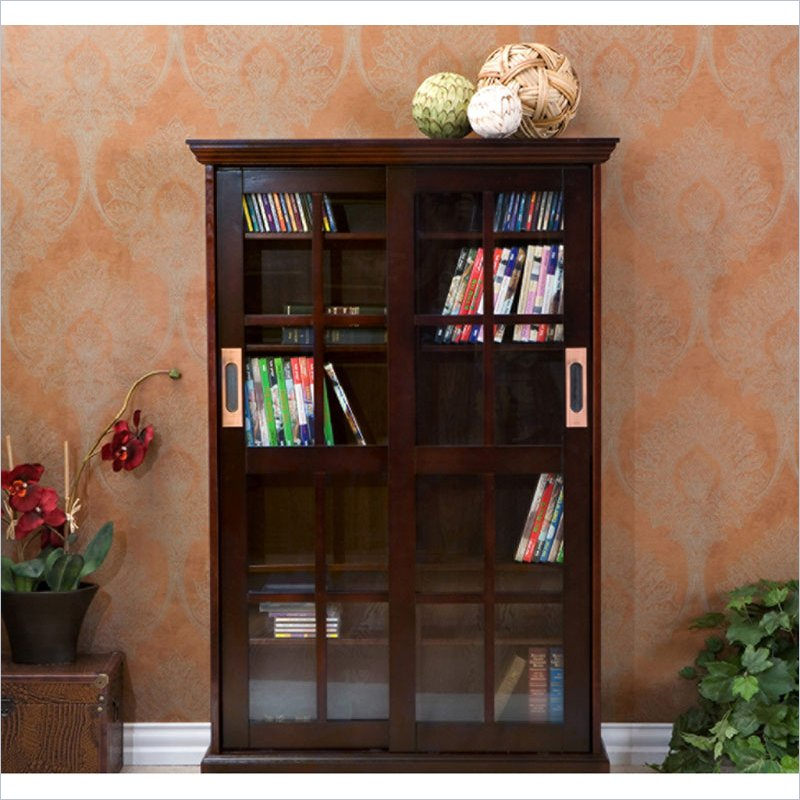 "Holly & Martin Emerson 49"" Sliding Door Media Cabinet in Espresso by"