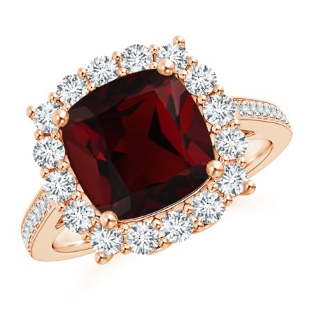 301e082a68b3d Valentine Jewelry Gift - Cushion Garnet Cocktail Ring with Diamond Halo in  14K Rose Gold (9mm Garnet) - SR1078GD-RG-AA-9-6