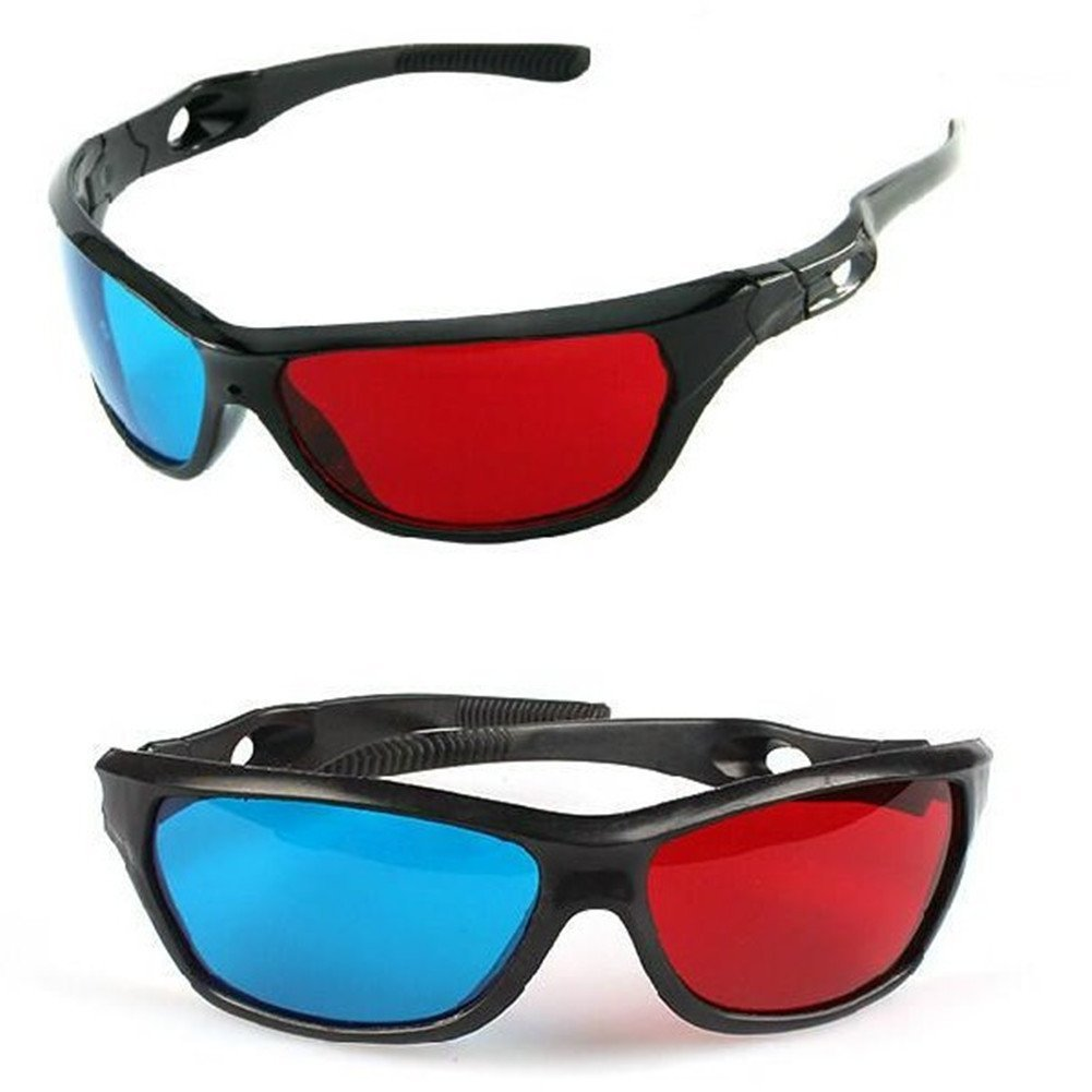 Red-blue / Cyan Anaglyph Simple Style 3d Glasses 3d Movie Game-extra Upgrade Style (2Pcs With Different Style), gameExtra movie Support Brightness.., By MECO