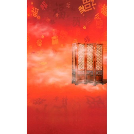 ABPHOTO Polyester Chinese Traditional Red Best Wishes Door Photography Backdrops Photo Props Studio Background