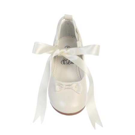 Children's Occasion Shoes (Girls Ivory Satin Ribbon Ballerina Flats Occasion Dress Shoes 11-4)