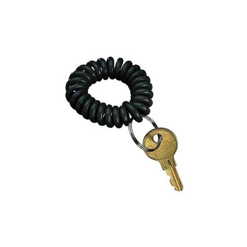 PM COMPANY Wrist Keycoil Chain, Plastic, Includes Steel Key Ring, Black