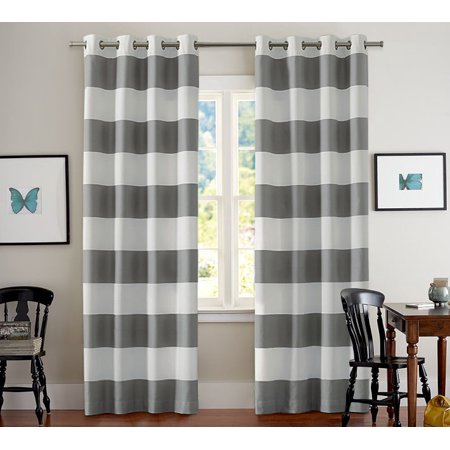 TURQUOIZE Nautical Blackout Curtains(2 PANELS), Room Darkning, Grommet Top, Light Blocking Curtains, 52W by 84L Inch, Wave Stripes Pattern, Gray, Sold by - Nautical Curtain