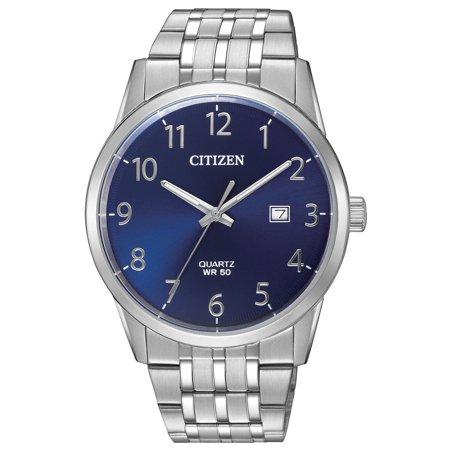 BI5000-52L Men's Stainless Steel Arabic Blue Dial Analog Quartz Watch Blue Dial Arabic Hour Markers