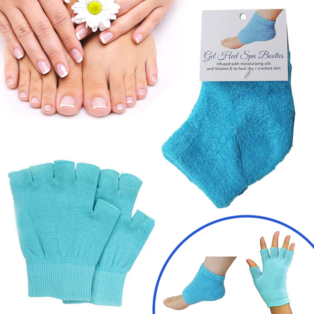 4 Pc Moisturizing Gel Spa Socks Gloves Set Repair Cracked Skin Heal Treatment