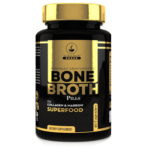 Bone Broth Superfood Capsules (1 Bottles|60ct) Organic Dehydrated Grassfed Beef + Chicken Blend. No Cooking or Mixing; Au Bon Broth Protein Powder Pills