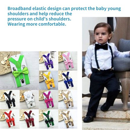 Adjustable and Elasticated With Metal Clips Polyester Kids Design Suspenders and Bowtie Bow Tie Set Matching Ties Outfits - image 7 of 7