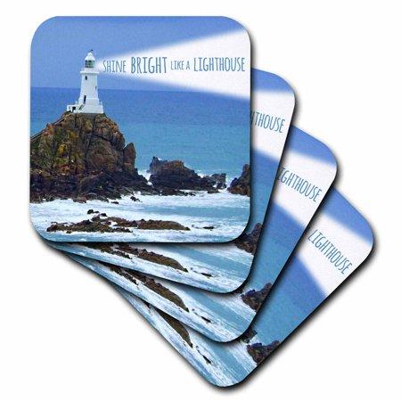 3dRose Shine bright like a lighthouse - inspiring motivational motivating nautical word saying light house, Soft Coasters, set of 4