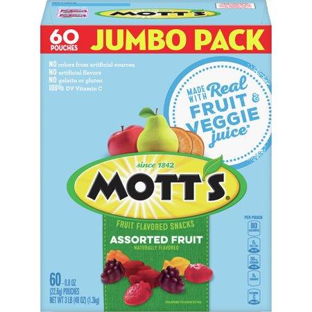 Mott's Fruit Snacks, Assorted Fruit, 60 pouches, 0.8oz (Mott Walnut)