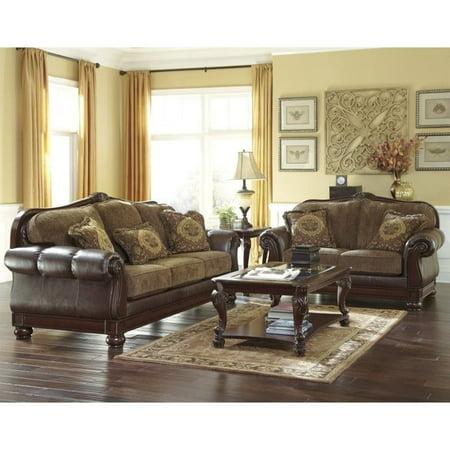 Ashley Beamerton Heights 2 Piece Faux Leather Sofa Set in Chestnut - Walmart.com