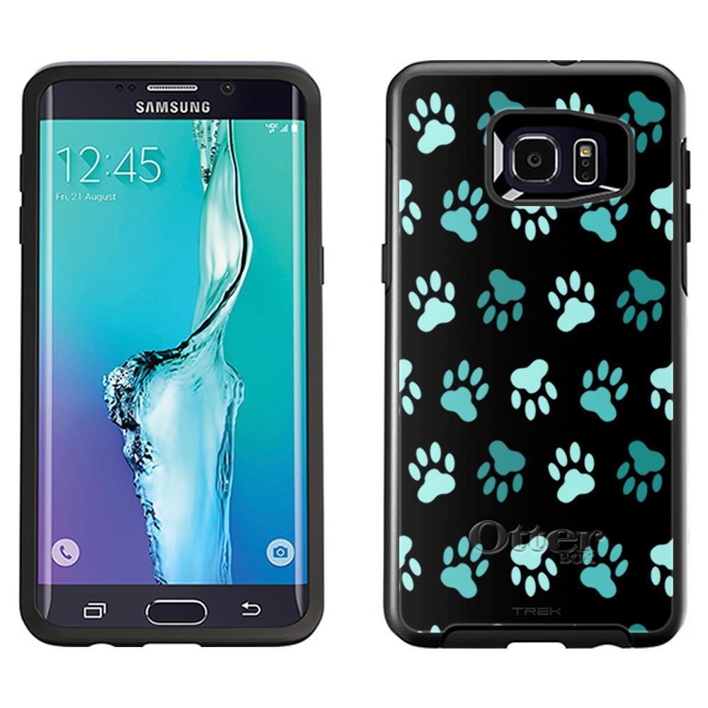 OtterBox Symmetry Samsung Galaxy S6 Edge Plus Case - Turquoise Paw Pattern on Black OtterBox Case