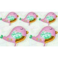 2 Packs Tweet Baby Boy and Girl Bird Supershape Foil Balloon Free Air Pumper