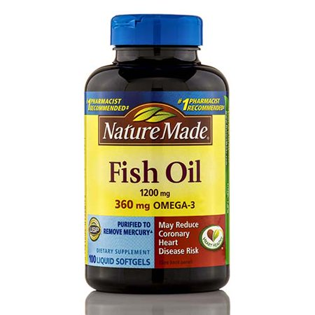 Fish oil 1200 mg omega 3 360 mg 100 softgels by nature for Nature made fish oil 1200 mg 360 mg omega 3