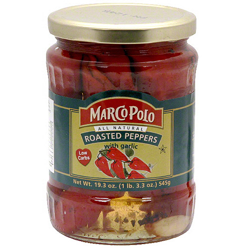 Marco Polo Roasted Peppers With Garlic, 19.3 oz (Pack of 12)