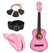 "NEW! 30"" Left Handed Pink Wood Guitar With Case and Accessories for Kids/Girls/Beginners"