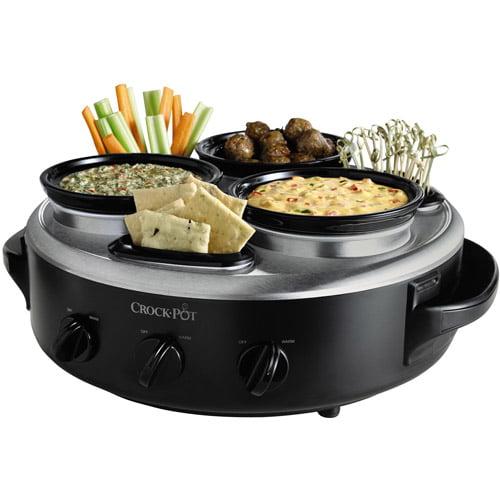 Crock-Pot Triple Dipper with Lazy Susan Food Warmer, Black, Stainless Steel Hybrid Finish, SCRTD300-BS