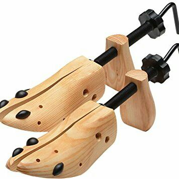 2-Way Wooden Shoe Stretcher by LifeShop | Extender & Widener with Bunion / Corn Plugs Stretching Two Ways Length Width Works for All Types of Shoes Including Leather Dress Shoes and (Best Type Of Shoes For Racquetball)