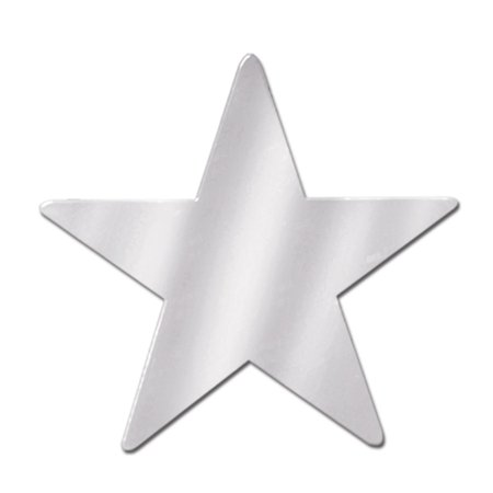 Club Pack of 36 Starry Night Themed Silver Metallic Foil Star Cutout Party Decorations - Star Themed Party