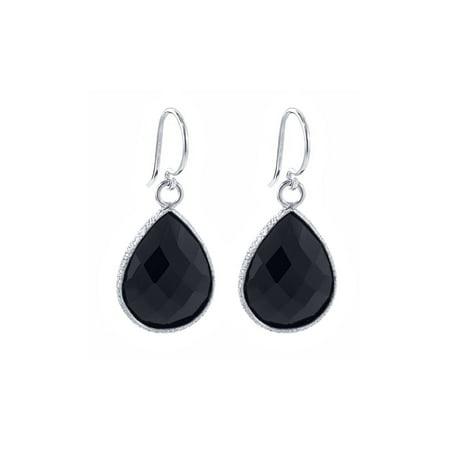 13.00 Ct Black Onyx 16X12MM Pear Shape 925 Sterling Silver Dangle Earrings