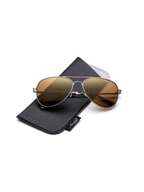 Newbee Fashion -Comfortble High Quality Durable Fashion Metal Aviator Sunglasses for Girls & Boys Polular Flash Mirror Lens UV Protection with Carrying Pouch (4-16 Years)