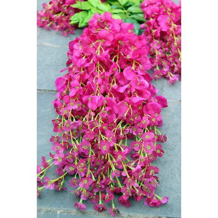 e-Joy 3.6 Feet Artificial Wisteria Vine Ratta Silk Hanging Flower Wedding Decor, 24 Pieces Purple Red - Walmart.com