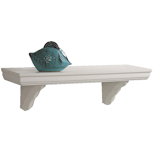 "InPlace Classic Bracketed Wall Shelf, 35.4"" W x 7.5"" D x 7.7"" H, White"