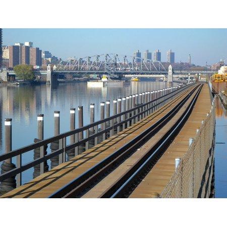 Canvas Print River Railroad Bronx Railway Tracks New York City Stretched Canvas 10 x 14](Party City Bronx)