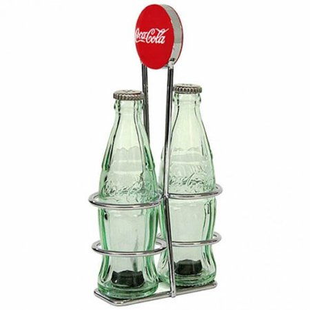 Authentic Coca Cola Coke Salt and Pepper Mini Bottle Set with Rack New (Coke Salt Shaker)