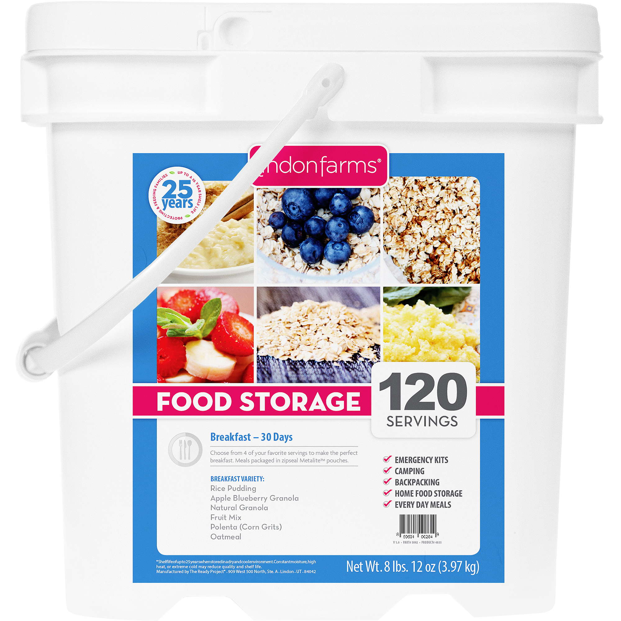 Lindon Farms 120 Servings Freeze Dried-Breakfast by Lindon Farms