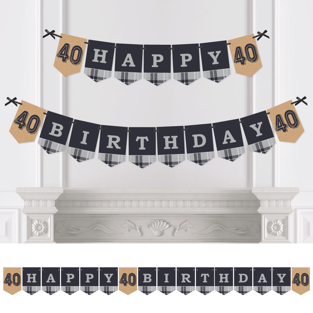 40th Milestone Birthday - Party Bunting Banner - Vintage Party Decorations - Happy Birthday