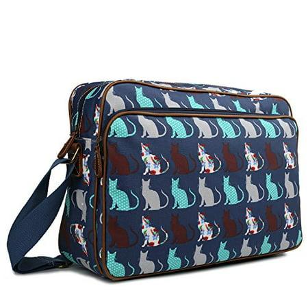 Coat Purse (Miss Lulu Matte Finish Oilcloth Satchel Messenger Bag (Cat Navy) )