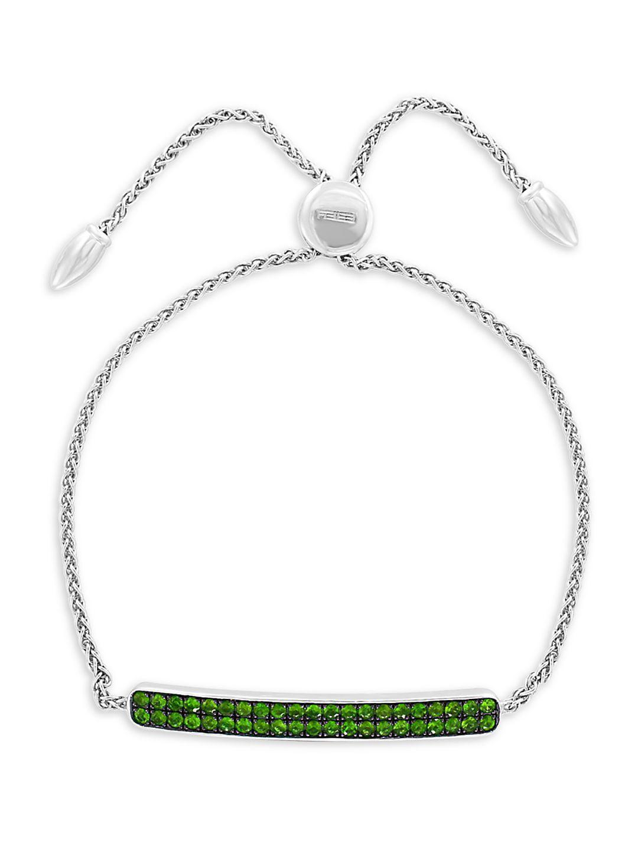 Sterling Silver & Tsavorite Bar Slider Bracelet