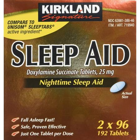 Kirkland Sleep Aid Doxylamine Succinate 25 Mg 192 Tablets (PACK 4) (Kirkland Sleeping Aid)