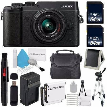 Panasonic Lumix DMC-GX8 with 14-42mm Lens (Black) (International Model) No Warranty + 64GB SDXC Class 10 Memory Card + Memory Card Wallet + Replacement Lithium Ion Battery Bundle 23