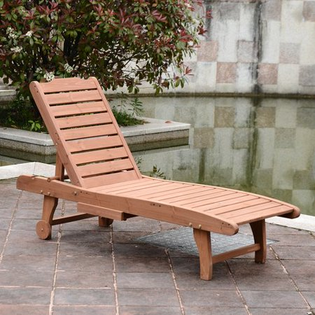 Red Barrel Studio Thach Wooden Outdoor Reclining Chaise Lounge