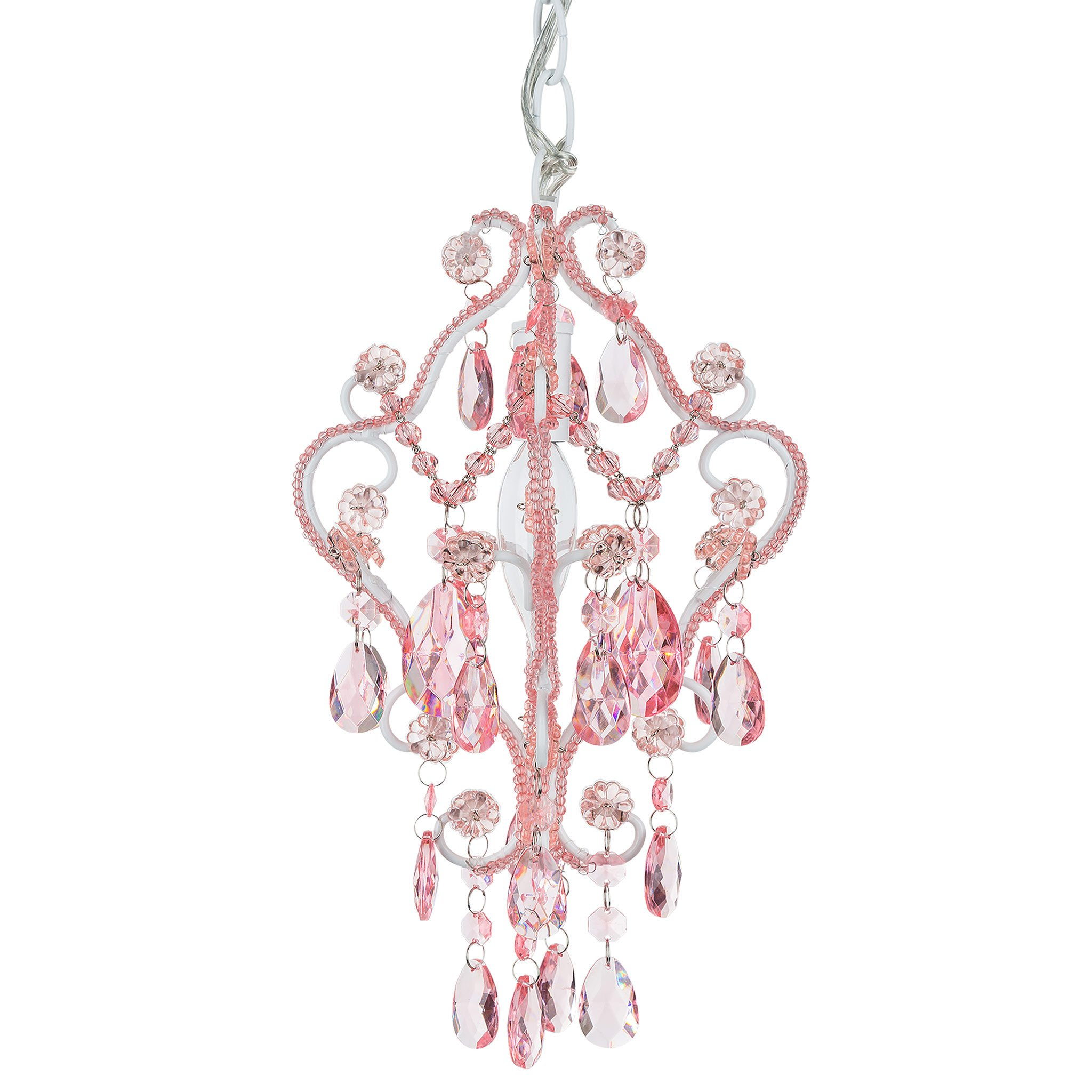 Amalfi Decor 1 Light Mini Crystal-Beaded Nursery Chandelier (Pink) | H | Wrought Iron Frame with Glass Crystals