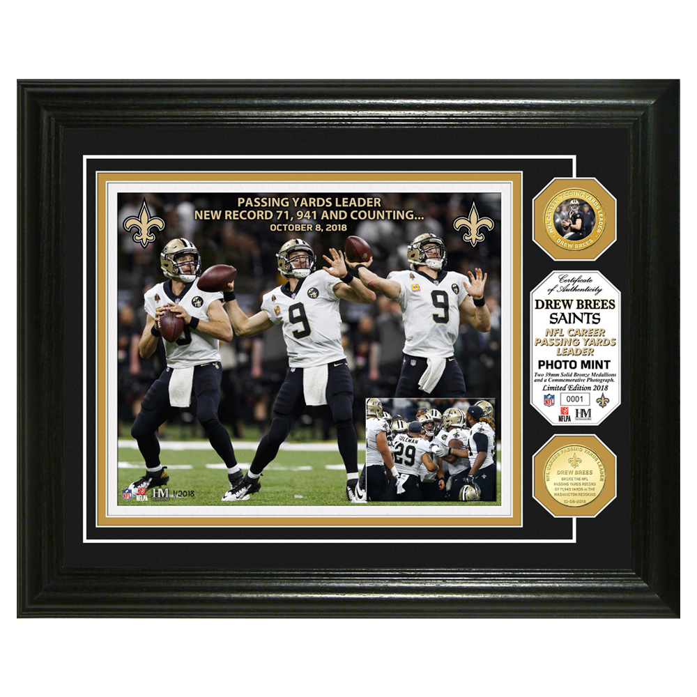 "Drew Brees New Orleans Saints Highland Mint NFL Passing Yards Leader 13"" x 16"" Bronze Coin Photo Mint - No Size"