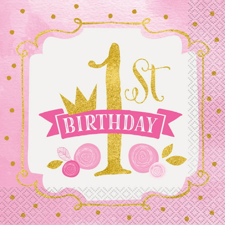 Pink and Gold Girls First Birthday Party Lunch Napkins, 16ct](1st Birthday Girl Party Supplies)